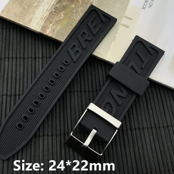 New Black 24mm 22mm buckle men Watchband Silicone Rubber Watch band Bracelet navitimer/avenger/Breitling strap Wristband logo on