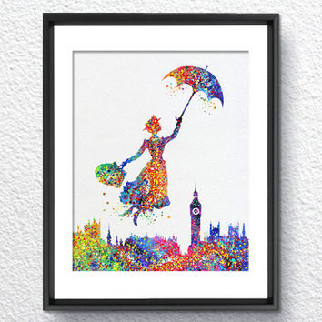 Mary Poppins Watercolor illustrations Art Print Wall Art Poster Giclee Wall Decor Art Home Decor Wall Hanging Item052