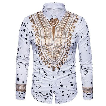 Traditional African Dashiki Men Shirt Long Sleeve Slim Fit Casual Mens Dress Shirts