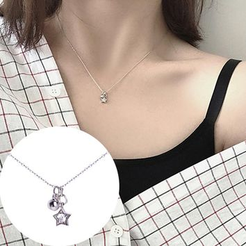 N259 Minimalist Clavicle Necklaces Women Bijoux Zircon Star Ball Tiny Necklaces Dainty Fashion Jewelry Beach Summer Collares