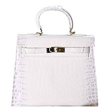 Hermes Kelly 28 Crocodile Leather White 608152