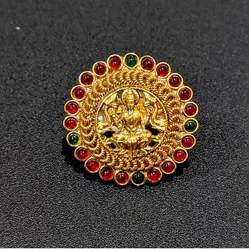Traditional Goddess Lakshmi center adjustable finger ring