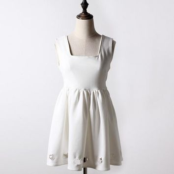 Women's  Cat Print Japan Style Hollow Out Pinafore Dress S-M