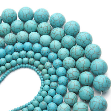 Free shipping 40cm pack Turquoise beads 3 4 6 810 12 14 16 mm Round Natural Green Turquoise Beads Loose for Jewelry Making F359