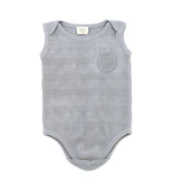 Milan Stripe Organic Rib Knit Sleeveless Bodysuit by Viverano