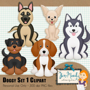 Instant Download: Doggy Set Clipart Element Pack, 3D / Beveled and Textured - Printable, Great For Scrapbooking, Personal Use Only