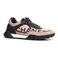 Nylon & Calfskin Gray, Black & White Sneakers | CHANEL