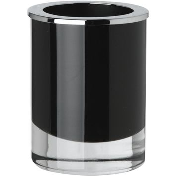 Black Glass Round Table Toothbrush Toothpaste Holder Bathroom Tumbler, Brass Top