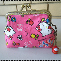 2 Compartment Purse Frame Purse/ Coin Purse - Hello Kitty/ double pockets/ Purse frame/ Pink/ Kawaii