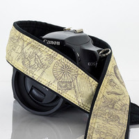 Map Camera Strap, dSLR, Old World Map, Photographer Gift, SLR, Vintage Map, Canon camera strap, Nikon camera strap, Men, Women,  257
