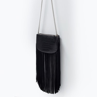 Fringed mock-croc messenger bag