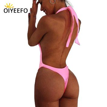 Oiyeefo Sexy Brazilian Thong Backless Monokini Women Swimsuit One Piece Bathing Suits for Bathers Beach May Swimwear Female 2018
