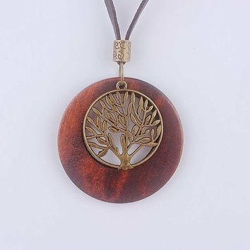 Life Tree Wooden Pendant Necklace Wood