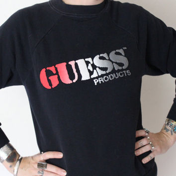 vintage 80's black guess products georges marciano 50/50 crew neck sweatshirt