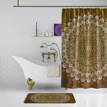 Golden Brown Mandala Shower Curtain -  boho chic, sacred geometry fabric, bathroom