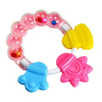 DCCKL72 1Pcs Silicon Baby Teether Molar Toothbrush Infant Training Tooth Cute Toddler Bell Toys Massager