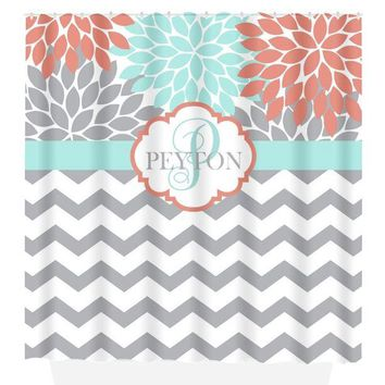 Coral Aqua SHOWER CURTAIN, Flower Chevron, Custom MONOGRAM Personalized, Coral Aqua Gray Bathroom Decor, Add on Bath Towel, Bath Mat
