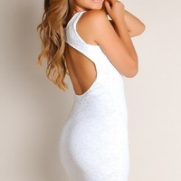 All White Simple Seduction Solid Color Cut Out A-Line Cocktail Dress
