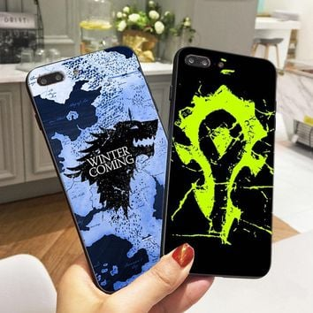 Game of Thrones Cases for iPhone 6 6S 5 5S SE 7 Case World Of Warcraft Soft TPU Silicone Phone Cover for iPhone 8 Plus X Coque