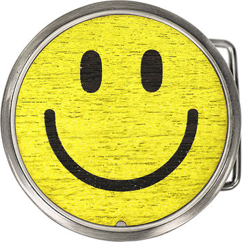 Real Wood Circle Smile Face Belt Buckle