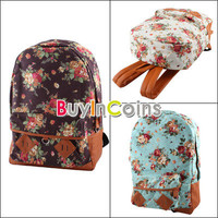 Women Shivering Vintage Cute Flower School Shoulder Book Campus Bag Backpack