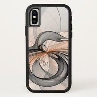 Abstract Anthracite Gray Sienna Fractal Monogram iPhone X Case
