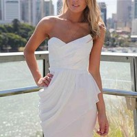 White Strapless Bodycon Dress with Chiffon Overlay