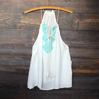 tribal embroidered tank | mint FINAL SALE - large
