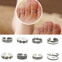 Celebrity Simple Retro Flower Design Adjustable Toe Ring Foot Beach Jewelry Gift 12 Style Your Choose WIJI