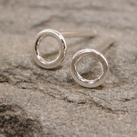 5mm Brushed Silver Circle Stud Earrings Dainty Jewelry Delicate Hoops by SARANTOS