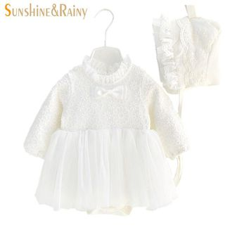 Sunshine & Rainy Baby Girl White Lace Dress With Hat For Girls Infant 1 Year Birthday Party Baptism Christening Dresses
