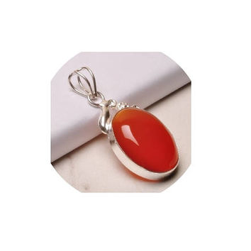 Red Onyx Pendant  , Oval  Pendant  ,  Sterling Silver Red Onyx Pendant