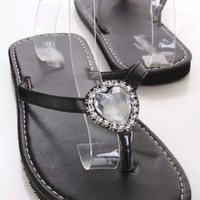Black Faux Leather Rhinestone Heart Thong Strap Foam Sandals
