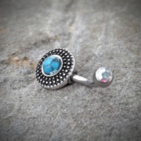 Tribal Turquoise Bronze Belly Button Navel Ring Body Jewelry Fits in Navel 14ga Cute Belly Ring Surgical Steel
