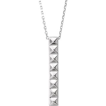 Sterling Silver Vertical Pyramid Bar Necklace, 16-18 Inch
