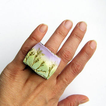 Wild herbs impression ring- pastel violet and green with gold accents- nature inspired- polymer clay- adjustable- woodland-boho gift for her