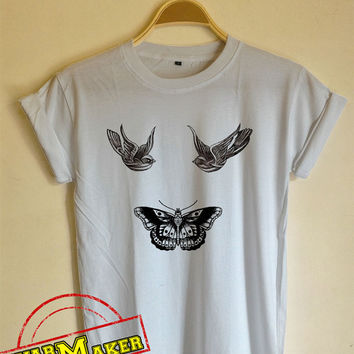 Harry Styles Tattoo T-Shirt Bird and Butterfly Tattoo Shirt