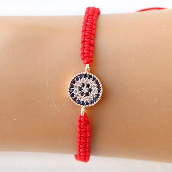 Evil eye bracelet, rose gold bracelet, zircon jewelry, christmas gift, arabic, dubai, cubic zirconia, best friend gift, mother gift
