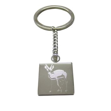 Silver Toned Etched Roebuck Deer Keychain