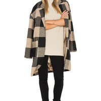 ASTR Cora Coat in Black & Tan | REVOLVE