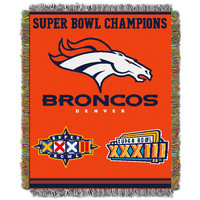 Denver Broncos NFL Super Bowl Commemorative Woven Tapestry Throw (48x60)