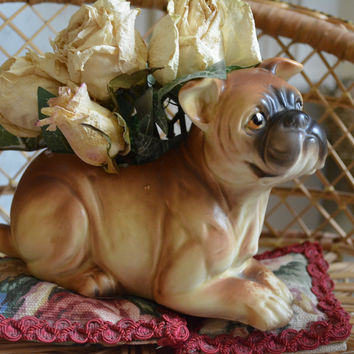 Vintage Boxer Puppy Dog Figurine Planter / Flower Pot Country English or French Decor