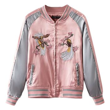Floral Birds Embroidery Souvenir Bomber Jacket Women Baseball Pocket Harajuku Pink Contrast Satin Duster Coat Sukajan