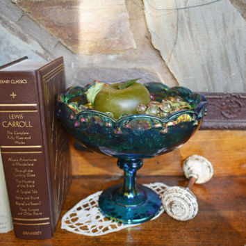 Blue Carnival Glass Bowl, Vintate Blue Iridescent Large Pedestal Compote,  Vintage Fruit Bowl