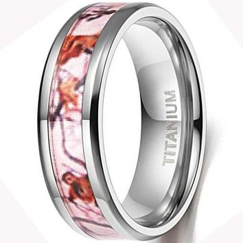 CERTIFIED 6mm/8mm Pink Camouflage Titanium Wedding Rings Comfort Fit
