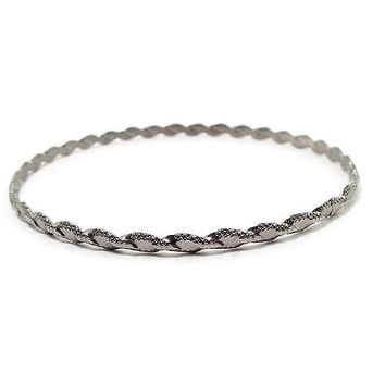 Vintage Stacking Bangle Bracelet Silver Tone Twisted Metal Retro 1980s 80s Womens Jewelry