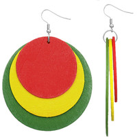 Red Multicolor Thin Wooden Layered Disk Earrings