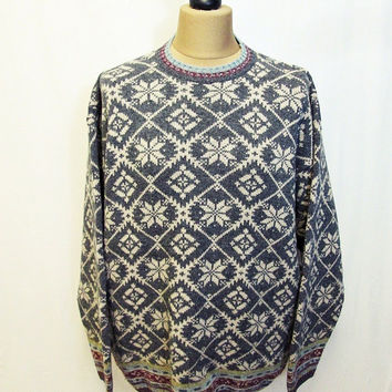Vintage 1980s Snowflake Victorian Wallpaper Pattern Jumper Sweater Large