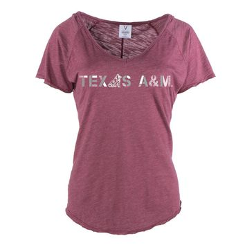 Official NCAA Texas A&M University Aggies A&M Reveille GIG EM! Women's Tommy V-Neck Tee