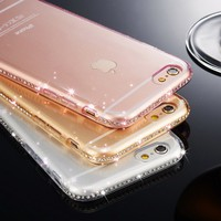 High quality Luxury Ultra Thin Crystal Diamond Bling Gel Transparent Phone Case Cover for iPhone 7 6 6S Plus 5 5S SE 8 Plus Cove